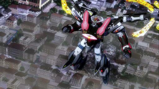 Robot above city